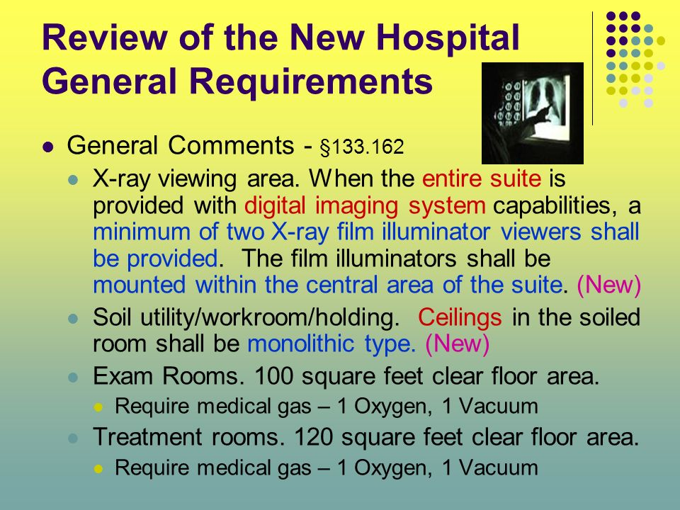 Review of the New Hospital General Requirements General Comments - §133.162 X-ray viewing area. When the entire suite is provided with digital imaging
