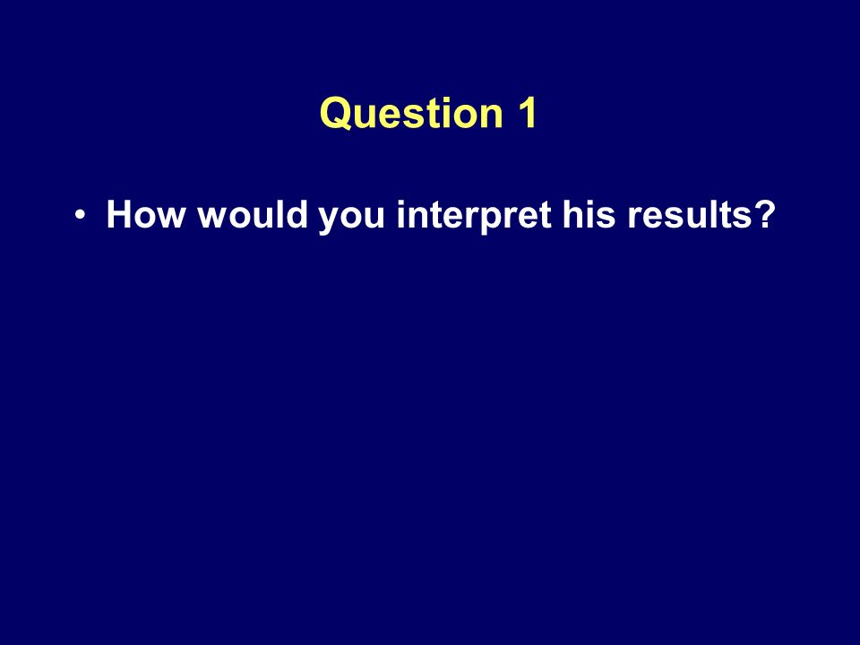 Question 1 How would you interpret his results?