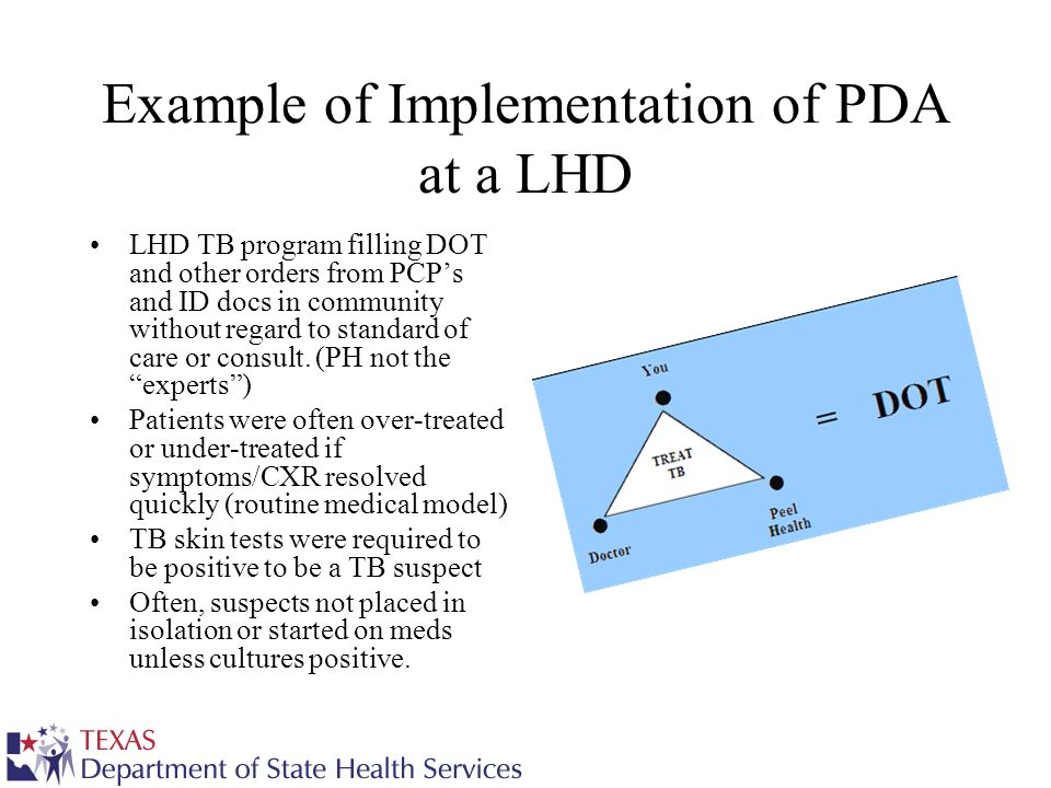 Example of Implementation of PDA at a LHD LHD TB program filling DOT and other orders from PCPs and ID docs in community without regard to standard of