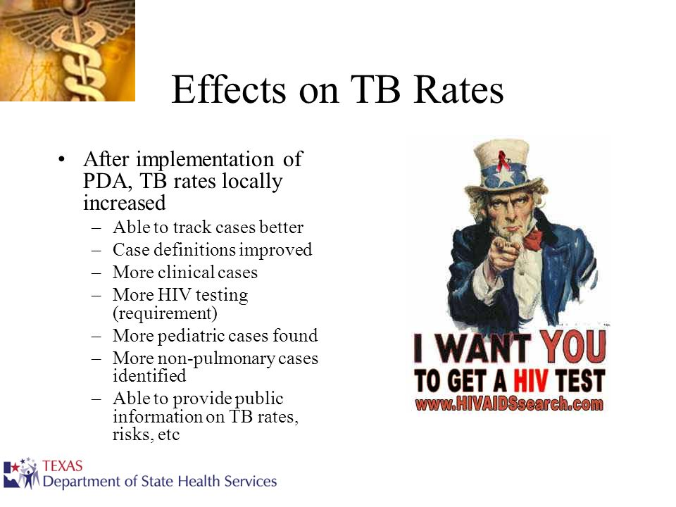Effects on TB Rates After implementation of PDA, TB rates locally increased –Able to track cases better –Case definitions improved –More clinical case