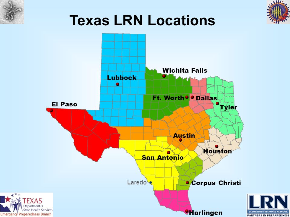 El Paso San Antonio Houston Austin Tyler Dallas Corpus Christi Harlingen Laredo Ft. Worth Wichita Falls Lubbock Texas LRN Locations