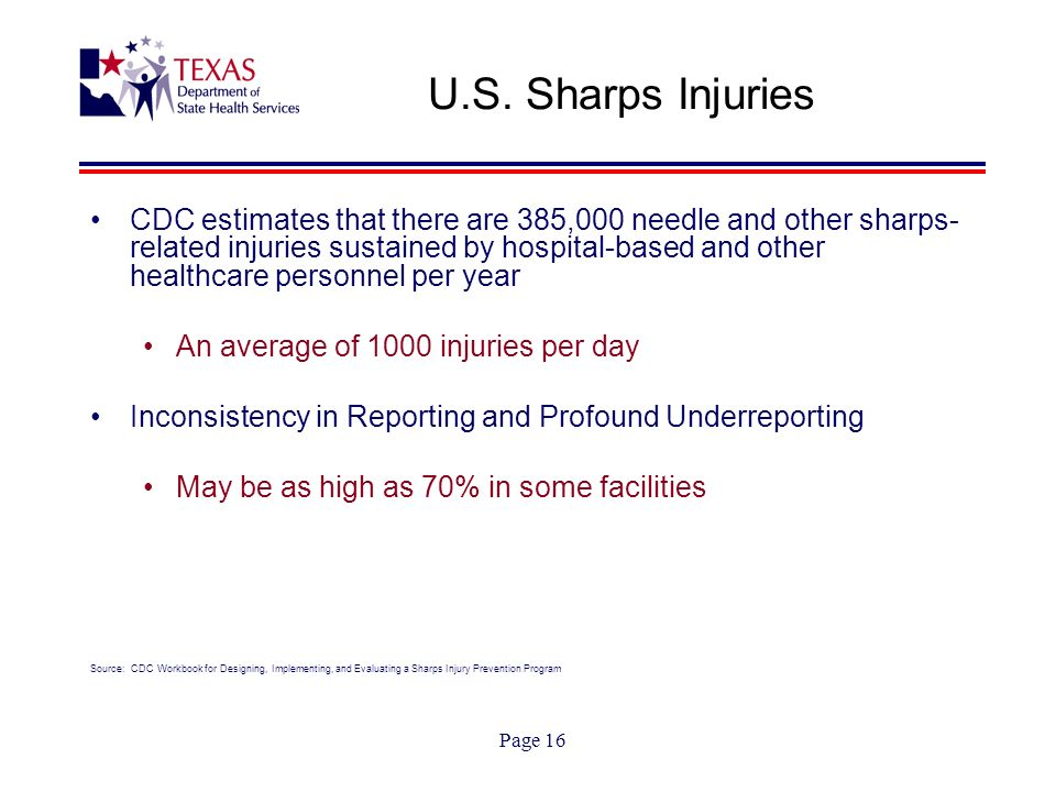 Page 16 U.S. Sharps Injuries CDC estimates that there are 385,000 needle and other sharps- related injuries sustained by hospital-based and other heal