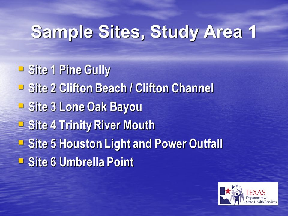 Sample Sites, Study Area 1 Site 1 Pine Gully Site 1 Pine Gully Site 2 Clifton Beach / Clifton Channel Site 2 Clifton Beach / Clifton Channel Site 3 Lo