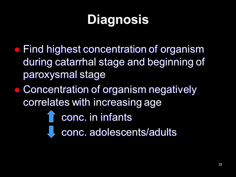 Diagnosis Find highest concentration of organism during catarrhal stage and beginning of paroxysmal stage Find highest concentration of organism durin