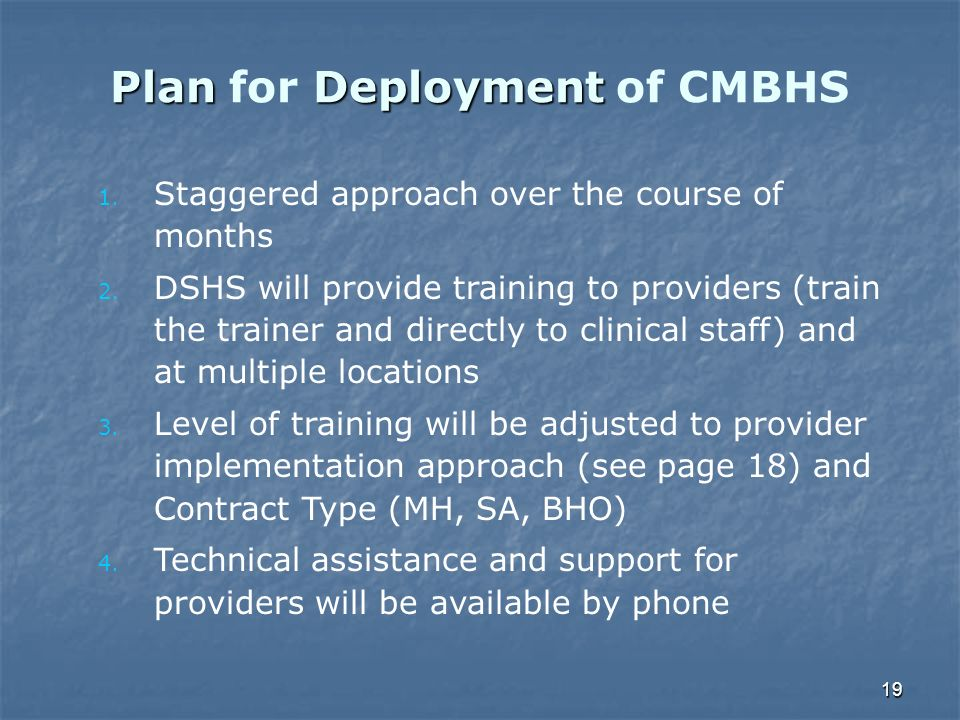 19 PlanDeployment Plan for Deployment of CMBHS 1. Staggered approach over the course of months 2. DSHS will provide training to providers (train the t