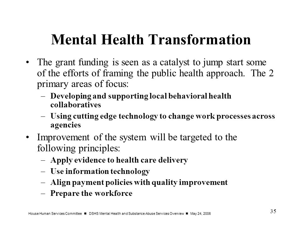 House Human Services Committee DSHS Mental Health and Substance Abuse Services Overview May 24, 2006 35 Mental Health Transformation The grant funding is seen as a catalyst to jump start some of the efforts of framing the public health approach.