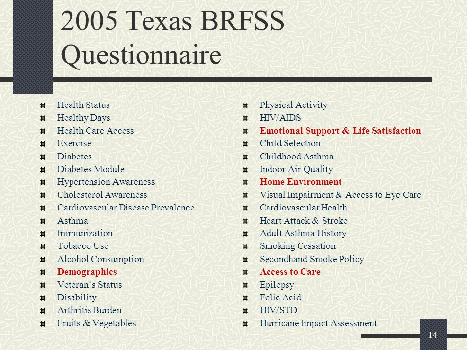 Texas BRFSS Questionnaire Health Status Healthy Days Health Care Access Exercise Diabetes Diabetes Module Hypertension Awareness Cholesterol Awareness Cardiovascular Disease Prevalence Asthma Immunization Tobacco Use Alcohol Consumption Demographics Veterans Status Disability Arthritis Burden Fruits & Vegetables Physical Activity HIV/AIDS Emotional Support & Life Satisfaction Child Selection Childhood Asthma Indoor Air Quality Home Environment Visual Impairment & Access to Eye Care Cardiovascular Health Heart Attack & Stroke Adult Asthma History Smoking Cessation Secondhand Smoke Policy Access to Care Epilepsy Folic Acid HIV/STD Hurricane Impact Assessment