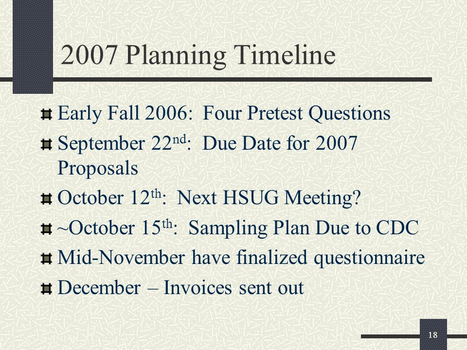 Planning Timeline Early Fall 2006: Four Pretest Questions September 22 nd : Due Date for 2007 Proposals October 12 th : Next HSUG Meeting.