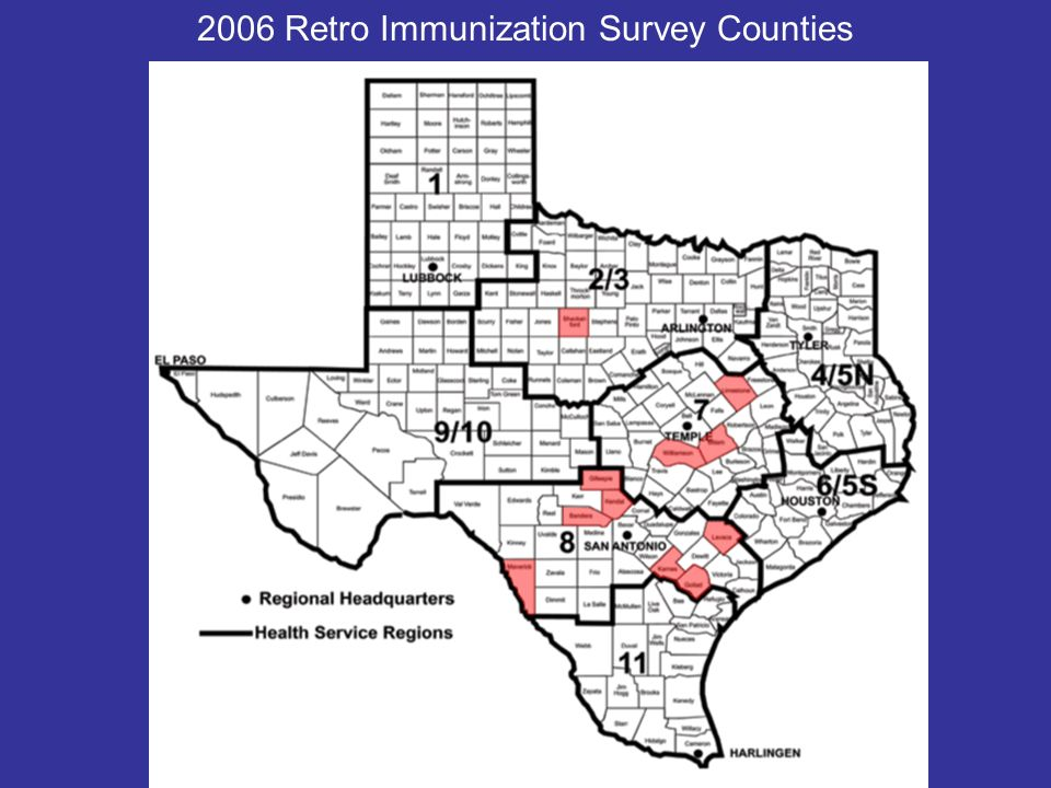2006 Retro Immunization Survey Counties
