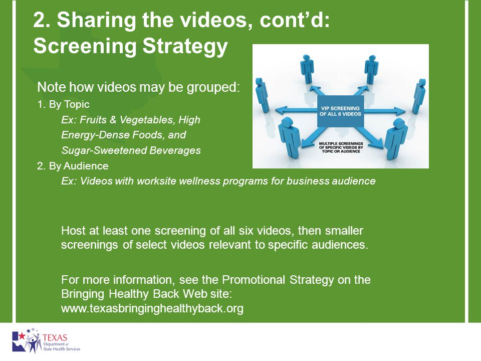 2. Sharing the videos, contd: Screening Strategy Note how videos may be grouped: 1. By Topic Ex: Fruits & Vegetables, High Energy-Dense Foods, and Sug