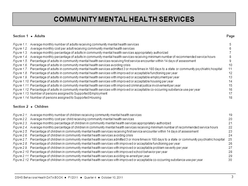 DSHS Behavioral Health DATA BOOK FY2011 Quarter 4 October 10, COMMUNITY MENTAL HEALTH SERVICES Section 1 Adults Page Figure 1.1.