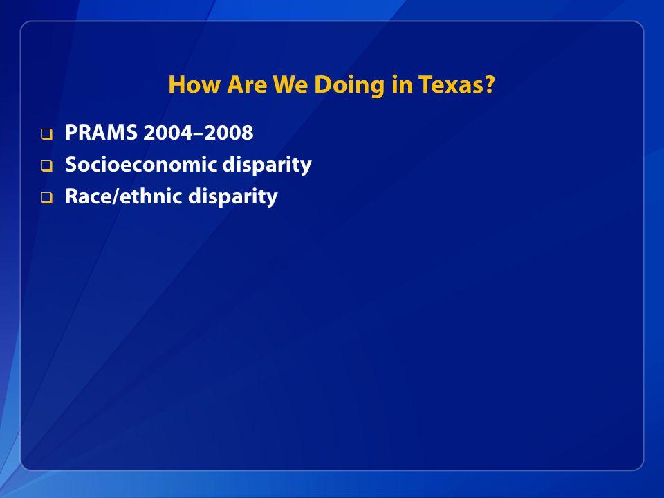 How Are We Doing in Texas? PRAMS 2004–2008 Socioeconomic disparity Race/ethnic disparity
