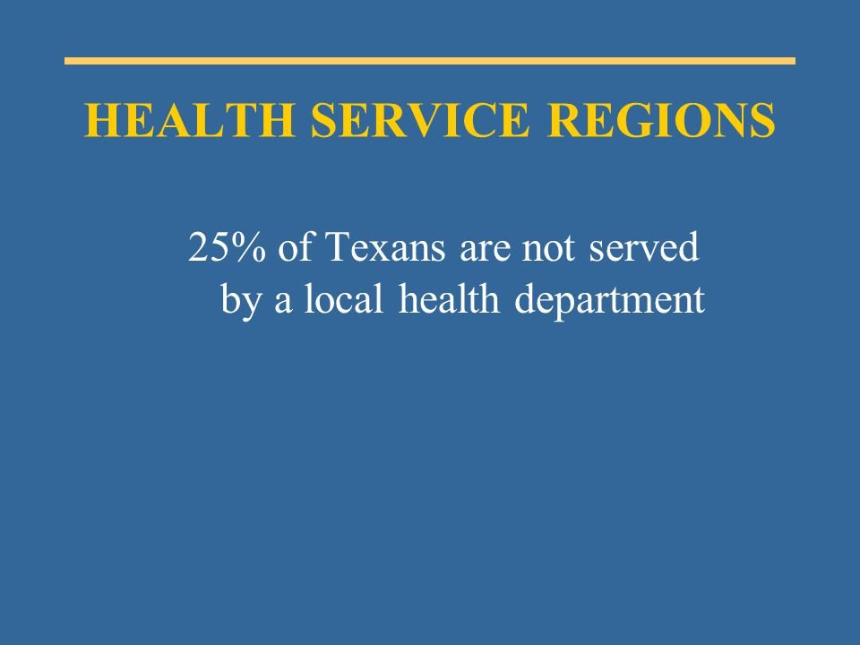 25% of Texans are not served by a local health department HEALTH SERVICE REGIONS