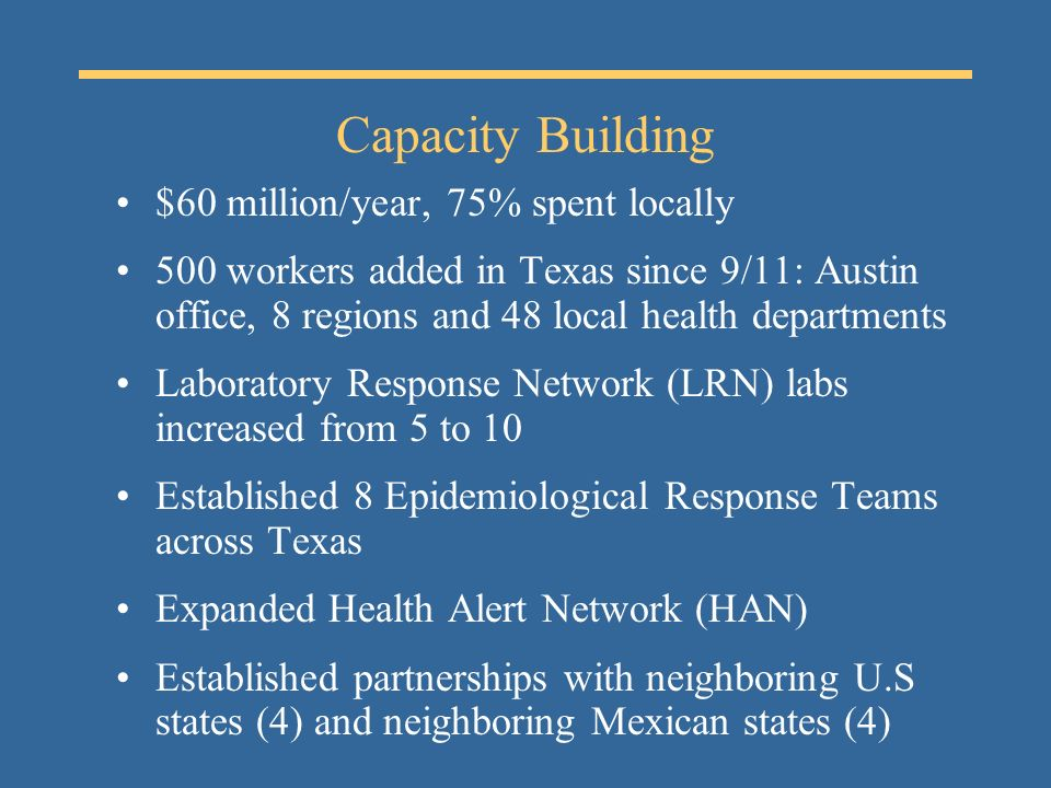 Capacity Building $60 million/year, 75% spent locally 500 workers added in Texas since 9/11: Austin office, 8 regions and 48 local health departments Laboratory Response Network (LRN) labs increased from 5 to 10 Established 8 Epidemiological Response Teams across Texas Expanded Health Alert Network (HAN) Established partnerships with neighboring U.S states (4) and neighboring Mexican states (4)