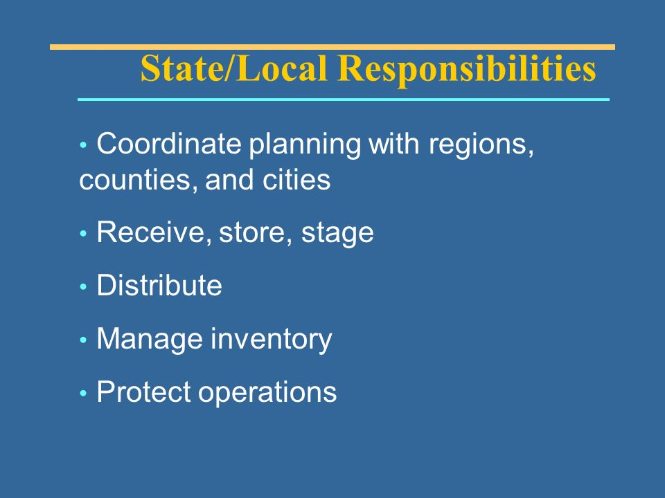 State/Local Responsibilities Coordinate planning with regions, counties, and cities Receive, store, stage Distribute Manage inventory Protect operations