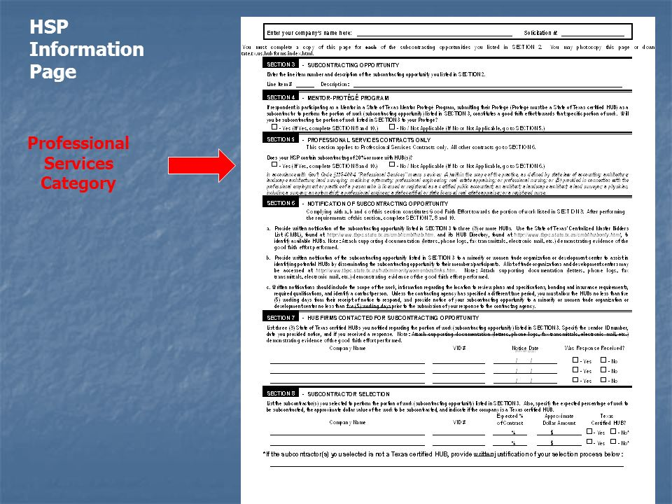 Professional Services Category HSP Information Page