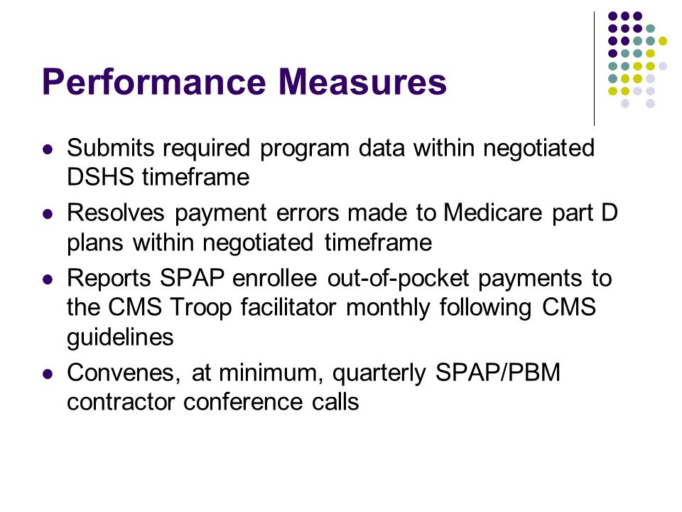 Performance Measures Submits required program data within negotiated DSHS timeframe Resolves payment errors made to Medicare part D plans within negotiated timeframe Reports SPAP enrollee out-of-pocket payments to the CMS Troop facilitator monthly following CMS guidelines Convenes, at minimum, quarterly SPAP/PBM contractor conference calls