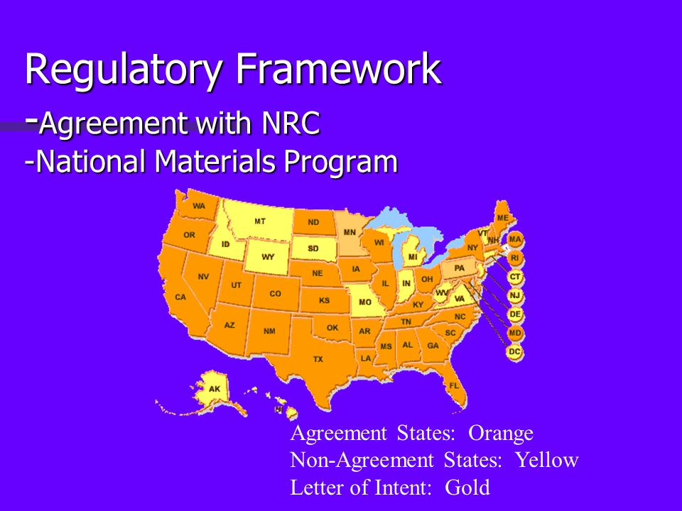 Regulatory Framework - Agreement with NRC -National Materials Program Agreement States: Orange Non-Agreement States: Yellow Letter of Intent: Gold
