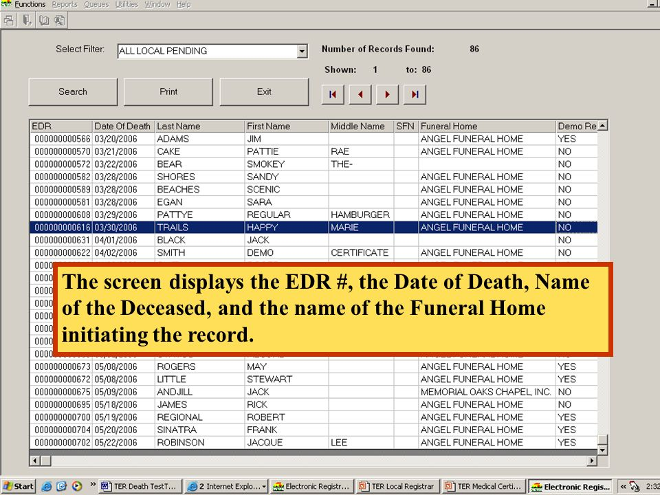 The screen displays the EDR #, the Date of Death, Name of the Deceased, and the name of the Funeral Home initiating the record.