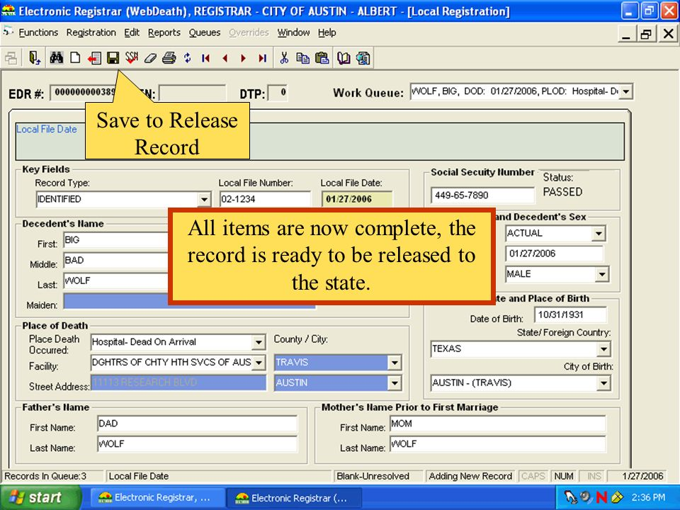 Save to Release Record All items are now complete, the record is ready to be released to the state.
