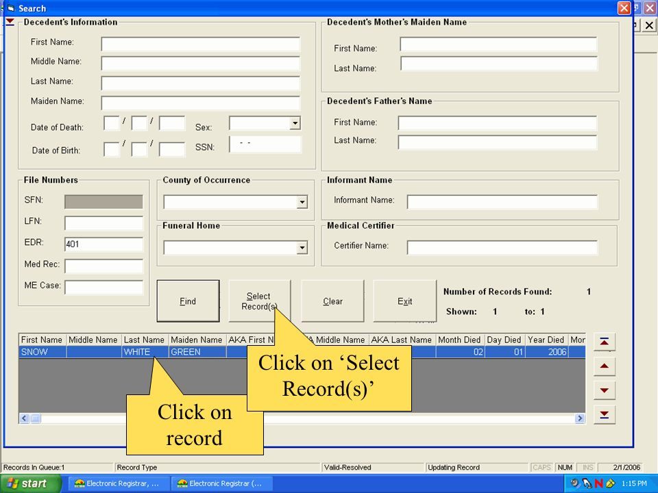 Click on record Click on Select Record(s)