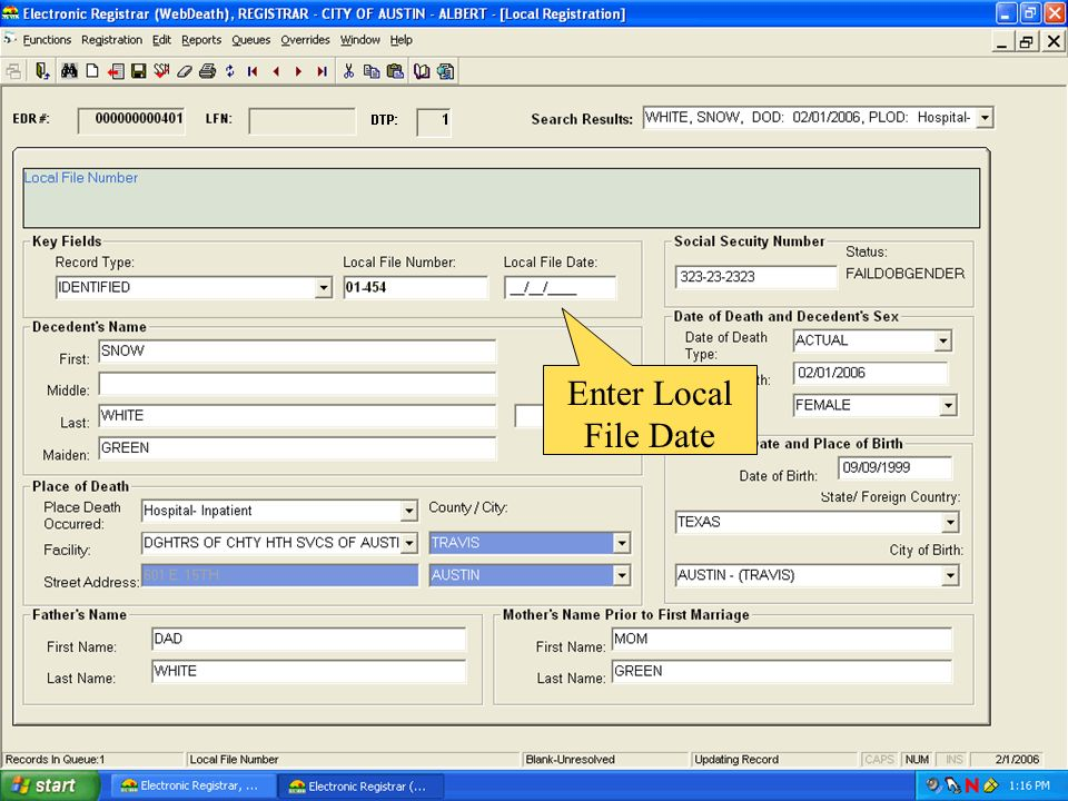 Enter Local File Date