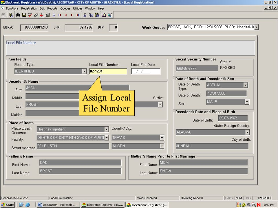 Assign Local File Number