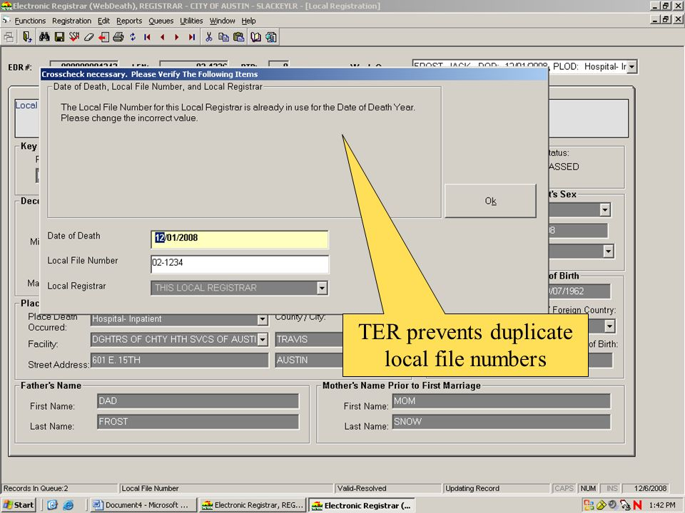 TER prevents duplicate local file numbers