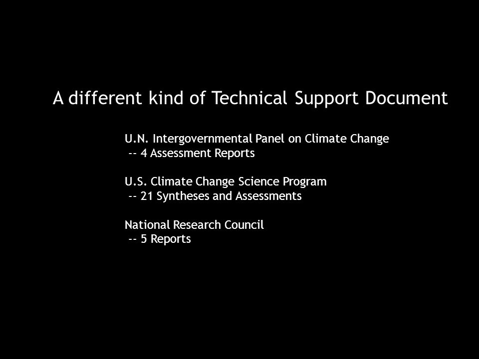 A different kind of Technical Support Document U.N.
