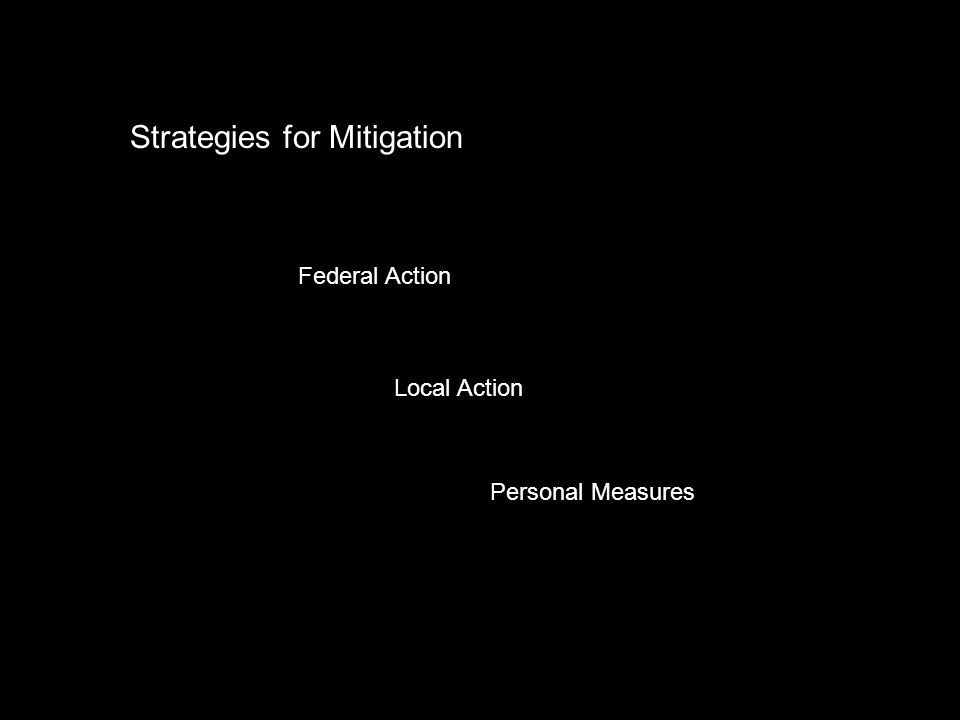 Strategies for Mitigation Federal Action Local Action Personal Measures