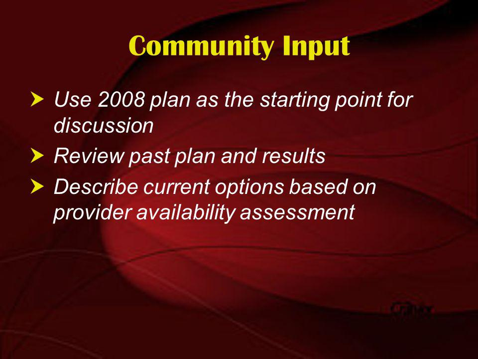 Community Input Use 2008 plan as the starting point for discussion Review past plan and results Describe current options based on provider availability assessment