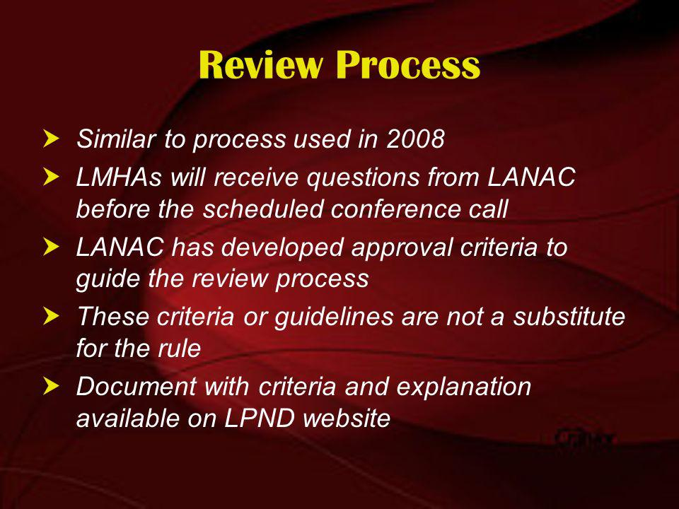 Review Process Similar to process used in 2008 LMHAs will receive questions from LANAC before the scheduled conference call LANAC has developed approval criteria to guide the review process These criteria or guidelines are not a substitute for the rule Document with criteria and explanation available on LPND website