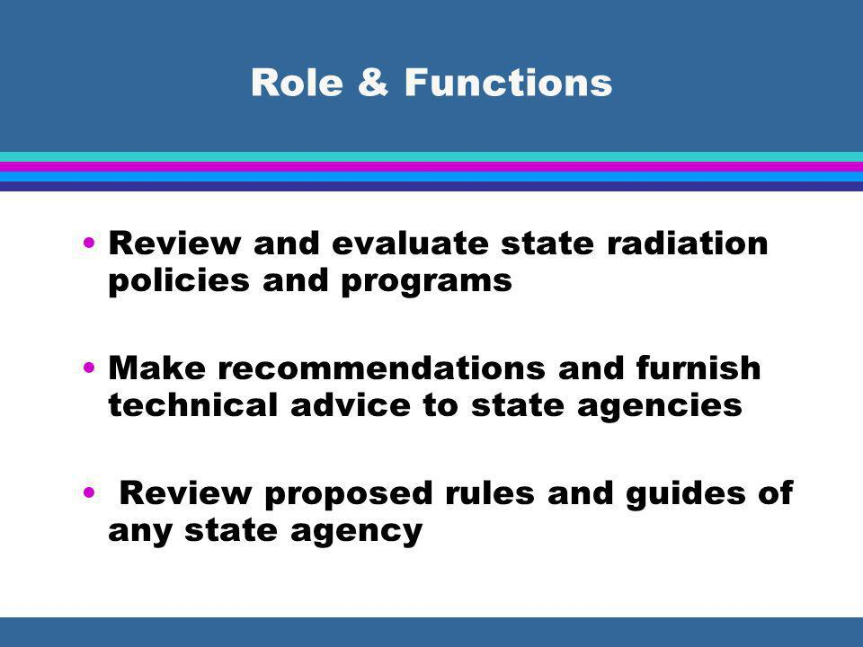 Role & Functions Review and evaluate state radiation policies and programs Make recommendations and furnish technical advice to state agencies Review proposed rules and guides of any state agency