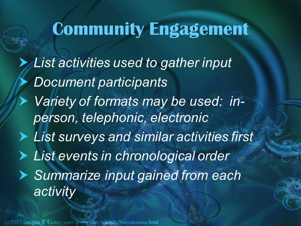 List activities used to gather input Document participants Variety of formats may be used: in- person, telephonic, electronic List surveys and similar activities first List events in chronological order Summarize input gained from each activity