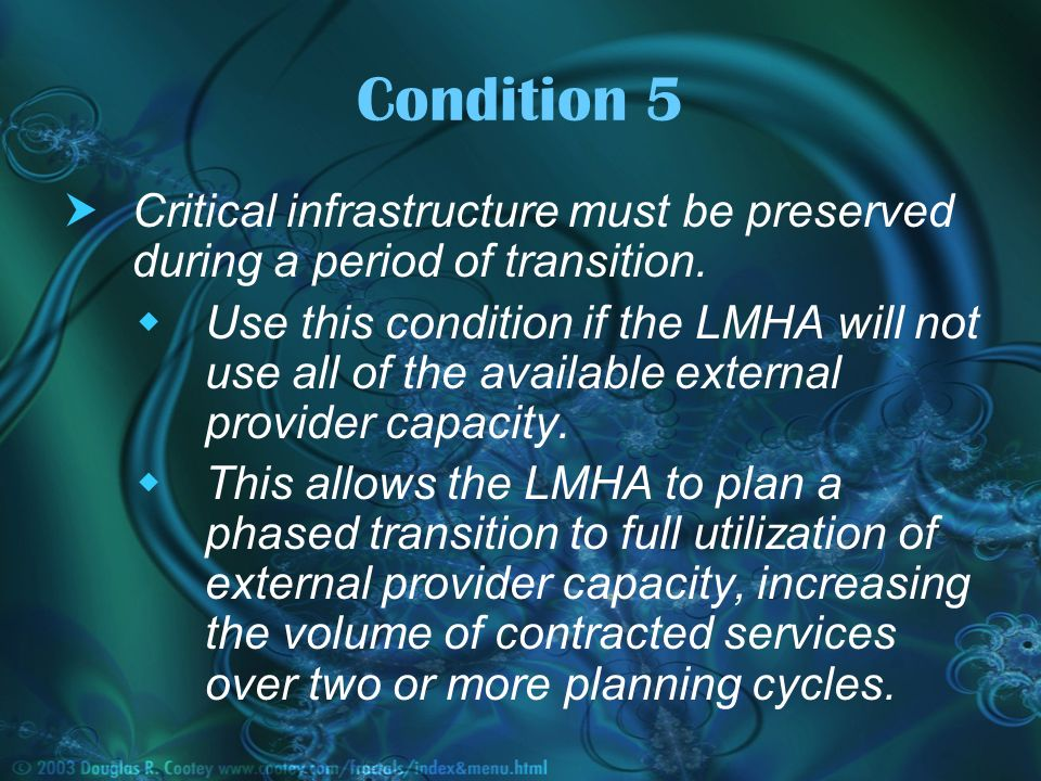 Condition 5 Critical infrastructure must be preserved during a period of transition.