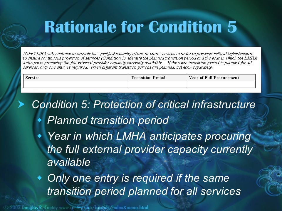 Rationale for Condition 5 Condition 5: Protection of critical infrastructure Planned transition period Year in which LMHA anticipates procuring the full external provider capacity currently available Only one entry is required if the same transition period planned for all services