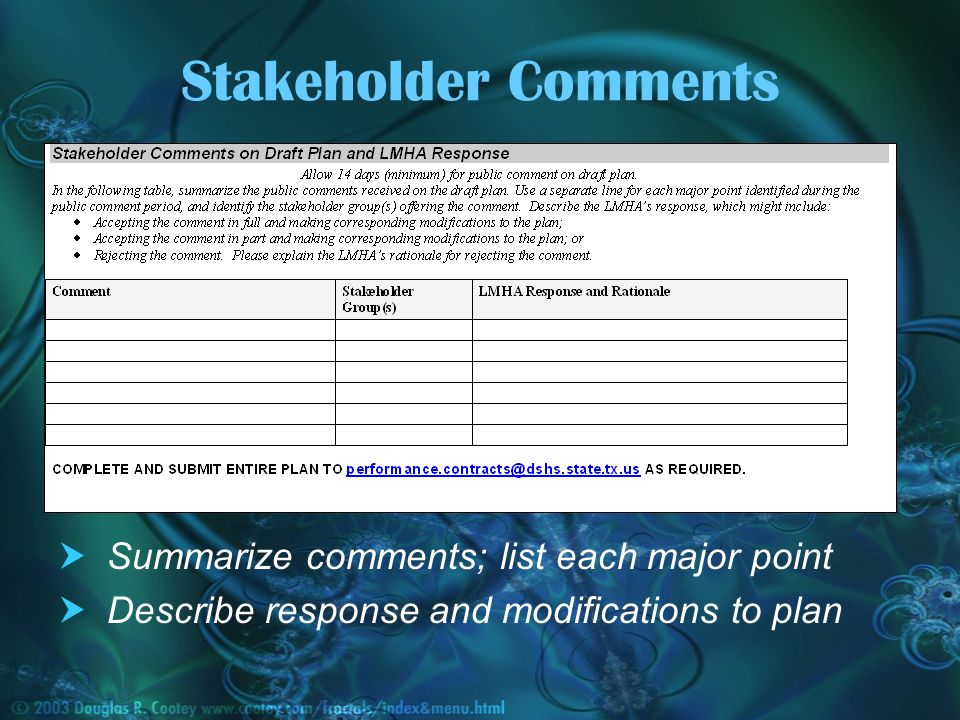 Stakeholder Comments Summarize comments; list each major point Describe response and modifications to plan