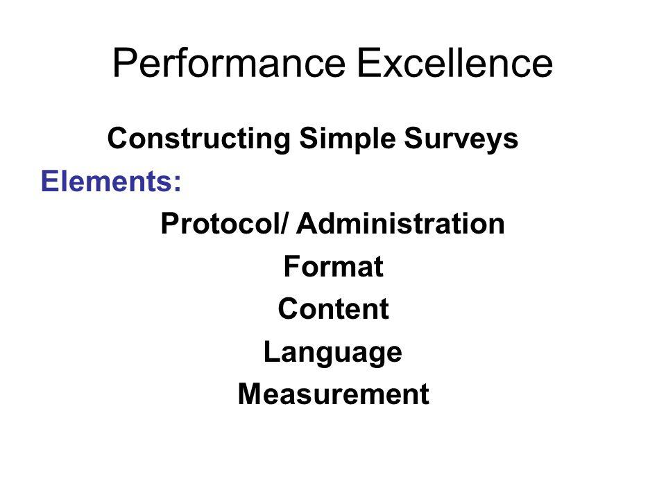 Performance Excellence Constructing Simple Surveys Elements: Protocol/ Administration Format Content Language Measurement