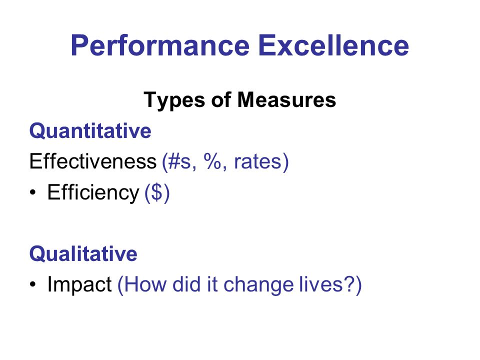 Performance Excellence Types of Measures Quantitative Effectiveness (#s, %, rates) Efficiency ($) Qualitative Impact (How did it change lives?)