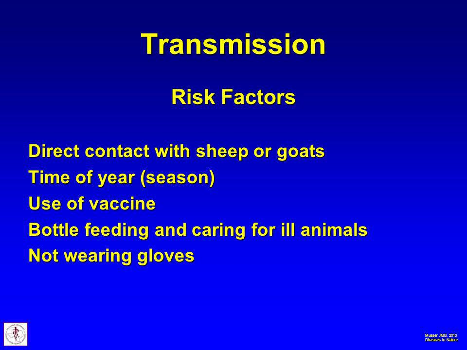 Musser JMB. 2010 Diseases in Nature Transmission Risk Factors Direct contact with sheep or goats Time of year (season) Use of vaccine Bottle feeding a