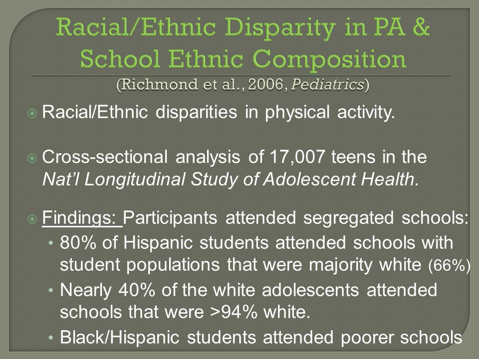 Racial/Ethnic disparities in physical activity. Cross-sectional analysis of 17,007 teens in the Natl Longitudinal Study of Adolescent Health. Findings