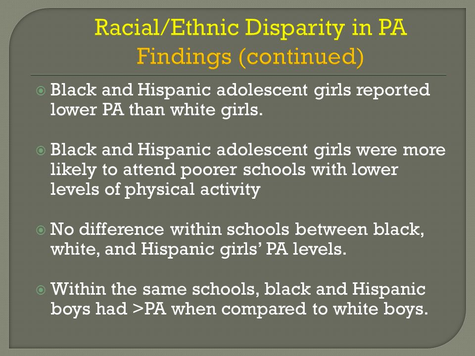 Black and Hispanic adolescent girls reported lower PA than white girls. Black and Hispanic adolescent girls were more likely to attend poorer schools