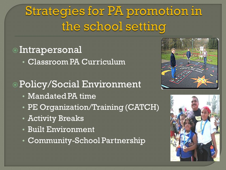 Intrapersonal Classroom PA Curriculum Policy/Social Environment Mandated PA time PE Organization/Training (CATCH) Activity Breaks Built Environment Co