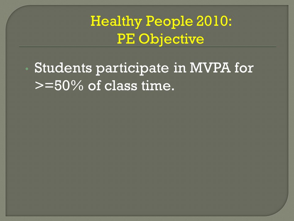 Students participate in MVPA for >=50% of class time. Healthy People 2010: PE Objective
