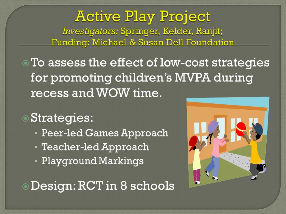 To assess the effect of low-cost strategies for promoting childrens MVPA during recess and WOW time. Strategies: Peer-led Games Approach Teacher-led A