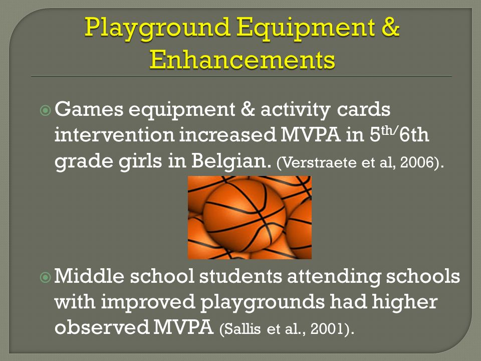 Games equipment & activity cards intervention increased MVPA in 5 th/ 6th grade girls in Belgian. (Verstraete et al, 2006). Middle school students att