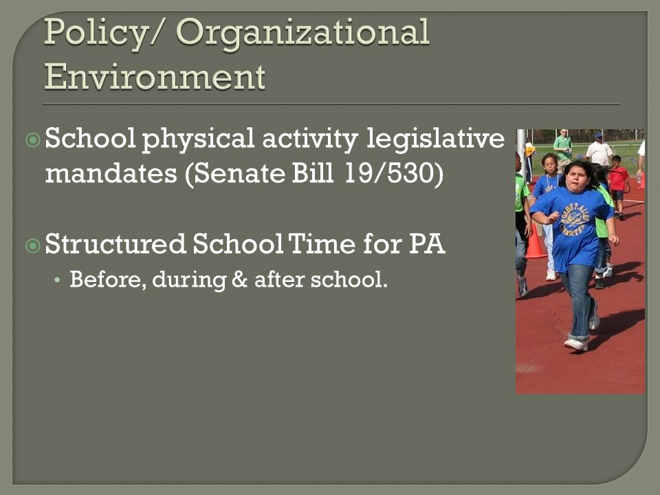 School physical activity legislative mandates (Senate Bill 19/530) Structured School Time for PA Before, during & after school.