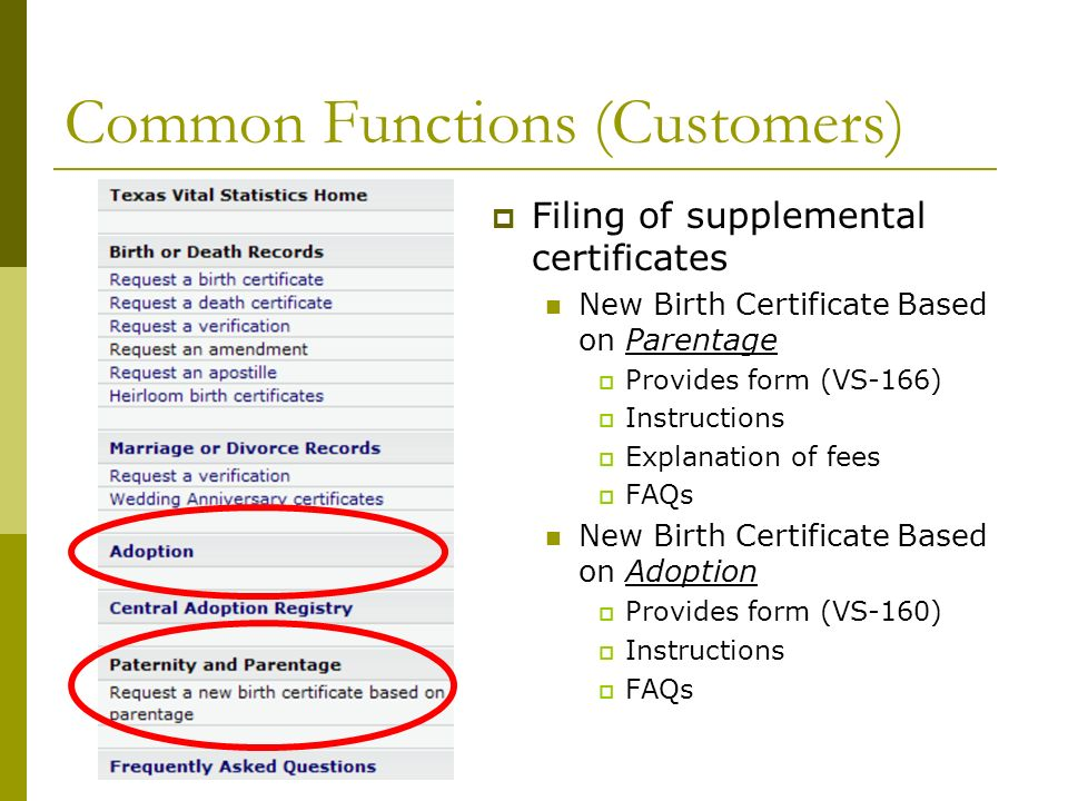 Common Functions (Customers) Filing of supplemental certificates New Birth Certificate Based on Parentage Provides form (VS-166) Instructions Explanation of fees FAQs New Birth Certificate Based on Adoption Provides form (VS-160) Instructions FAQs