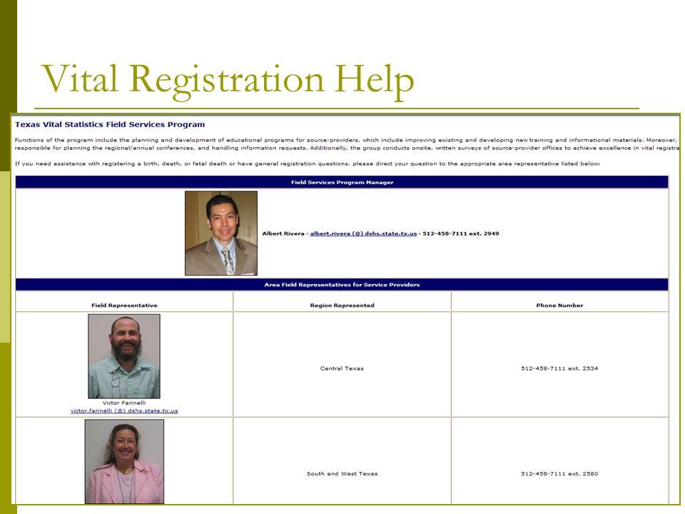 Vital Registration Help