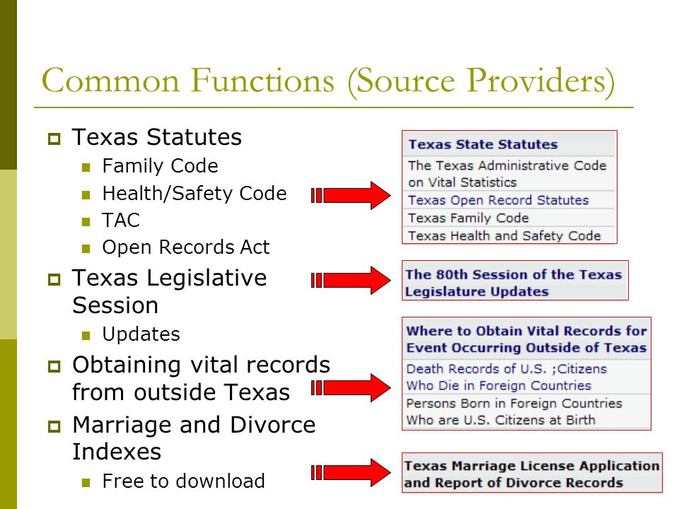 Common Functions (Source Providers) Texas Statutes Family Code Health/Safety Code TAC Open Records Act Texas Legislative Session Updates Obtaining vital records from outside Texas Marriage and Divorce Indexes Free to download